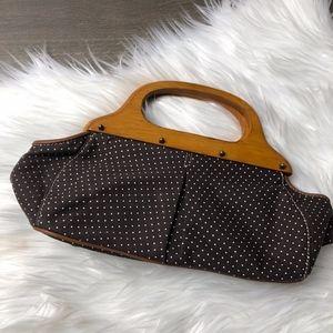 J.Crew Small Hand Bag Wood Handle  Brown Polka Dot